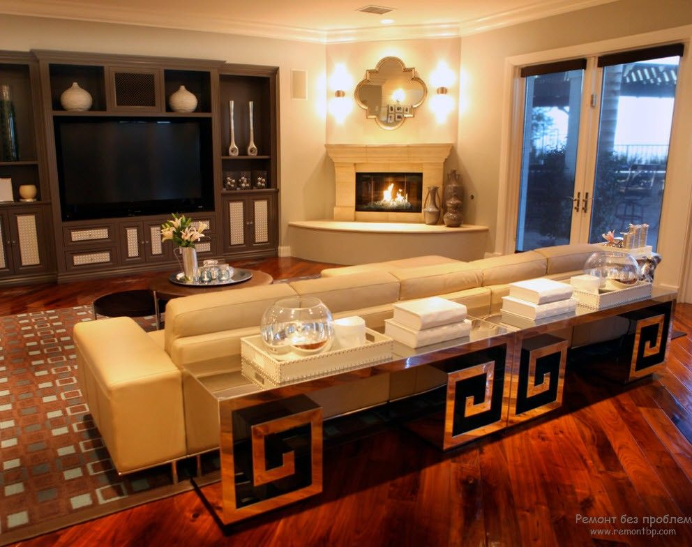 Nice classic styled interior of the living room with large sofa