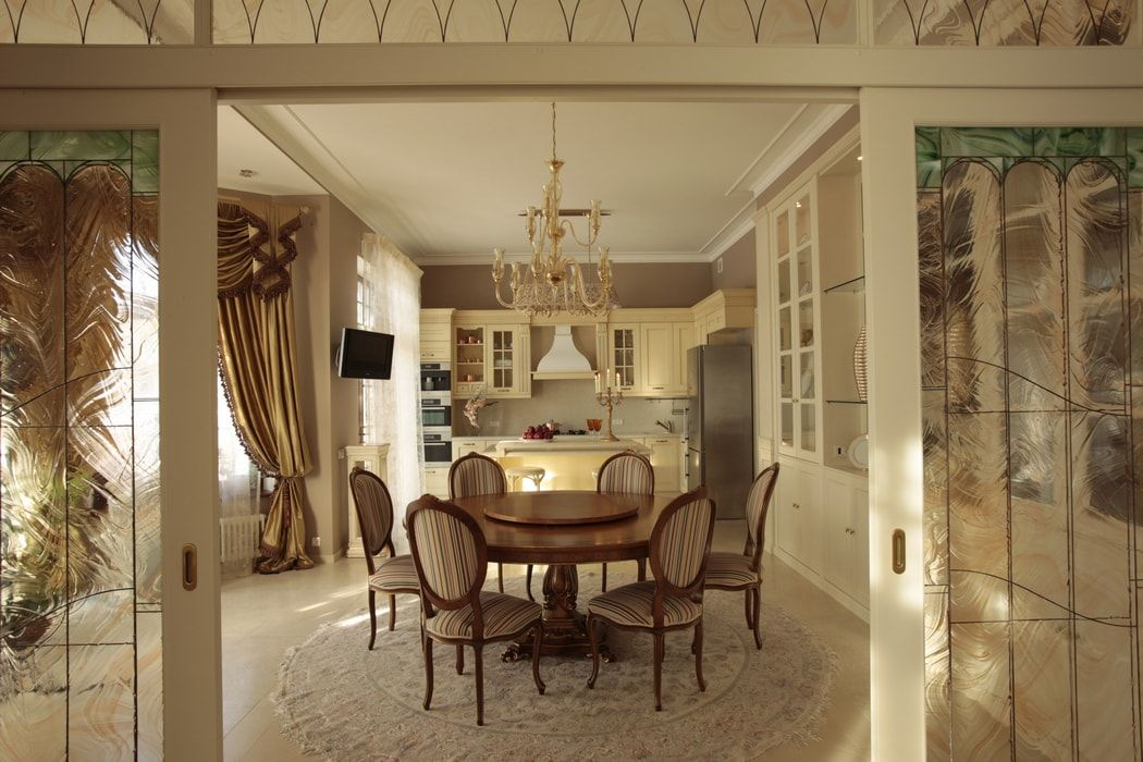 Italian Dining Room & Kitchen Combined in One Space. Great chic large space design in gray and beige color theme