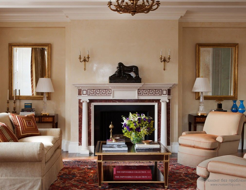 Stucco decorated fireplace and beige interior