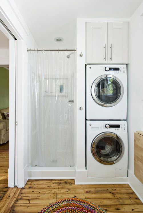 Washing Machine in Small Bathroom Placement Ideas. Ultra tight bathroom with shower in the nook and two machines next to it