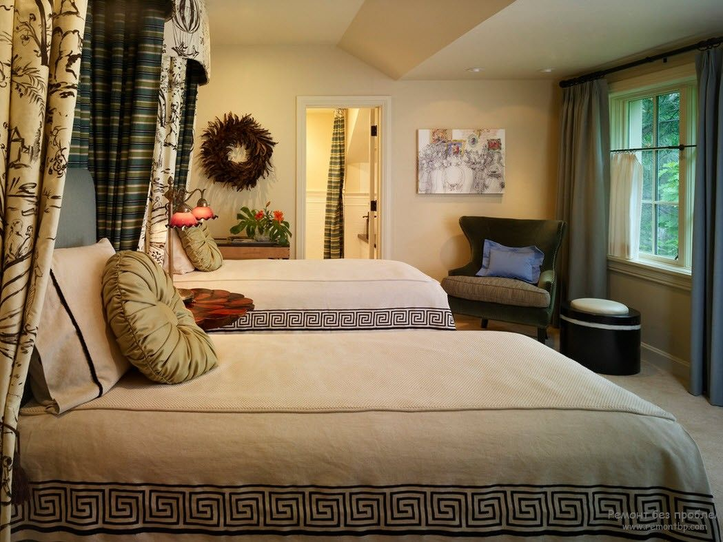 Greek Interior Design Style: Antiquity in Your Home. Calming bedroom interior with checkered curtains