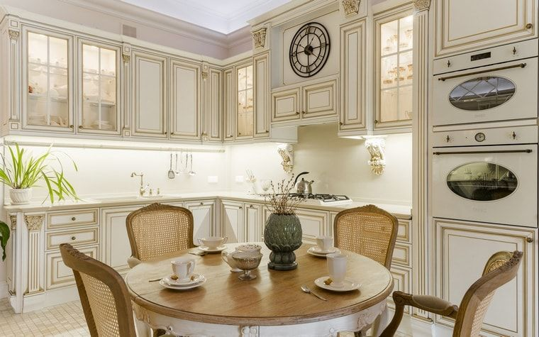 Italian Dining Room & Kitchen Combined in One Space. Ethnic designed kitchen with modern backlight of the countertop
