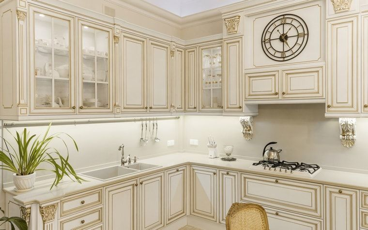 Creamy facades of the Classic ethnic styled kitchen