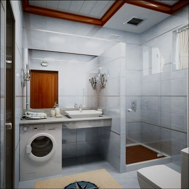 Washing Machine in Small Bathroom Placement Ideas. White colored space with wooden inlays