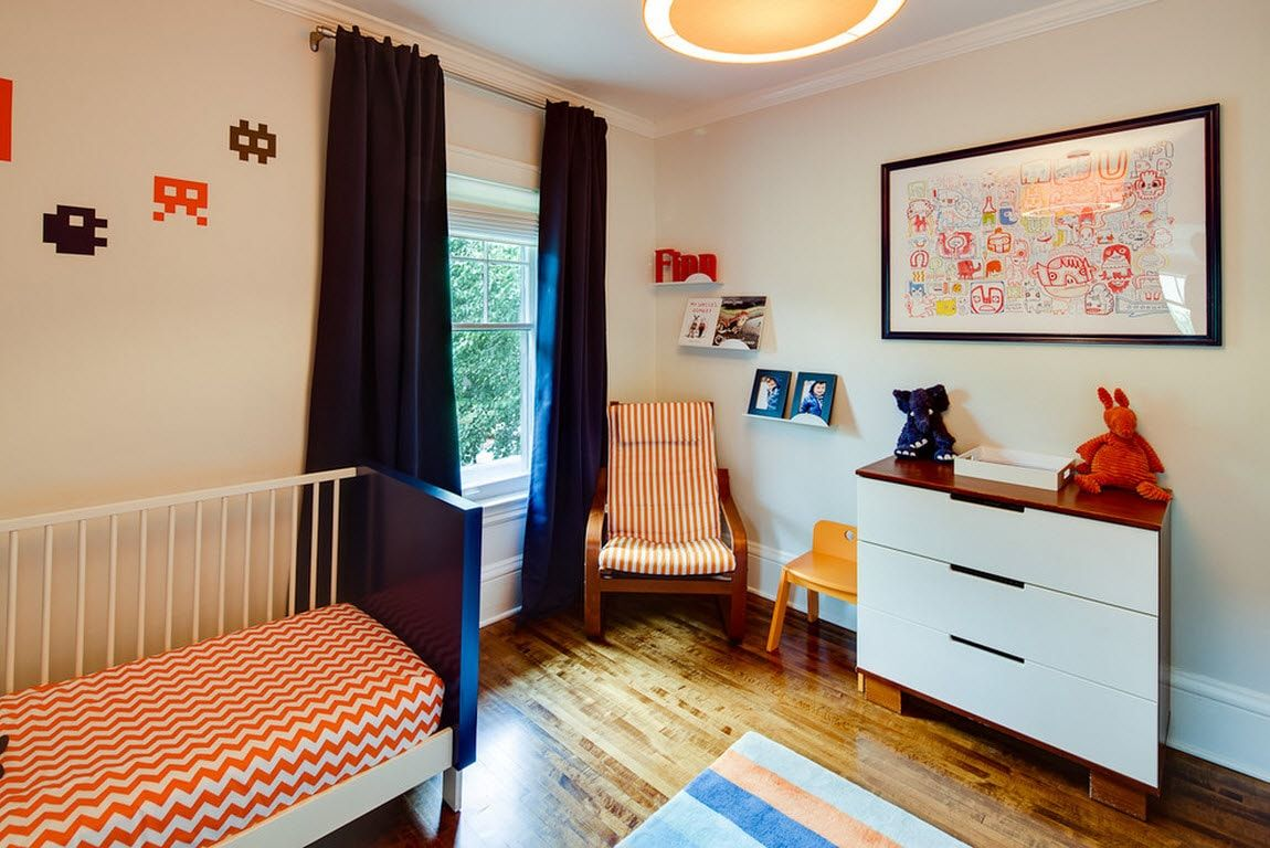Color Therapy for Children's Room: Why Need Proper Color Combination? Dark curtains as an accent for neutral colored room