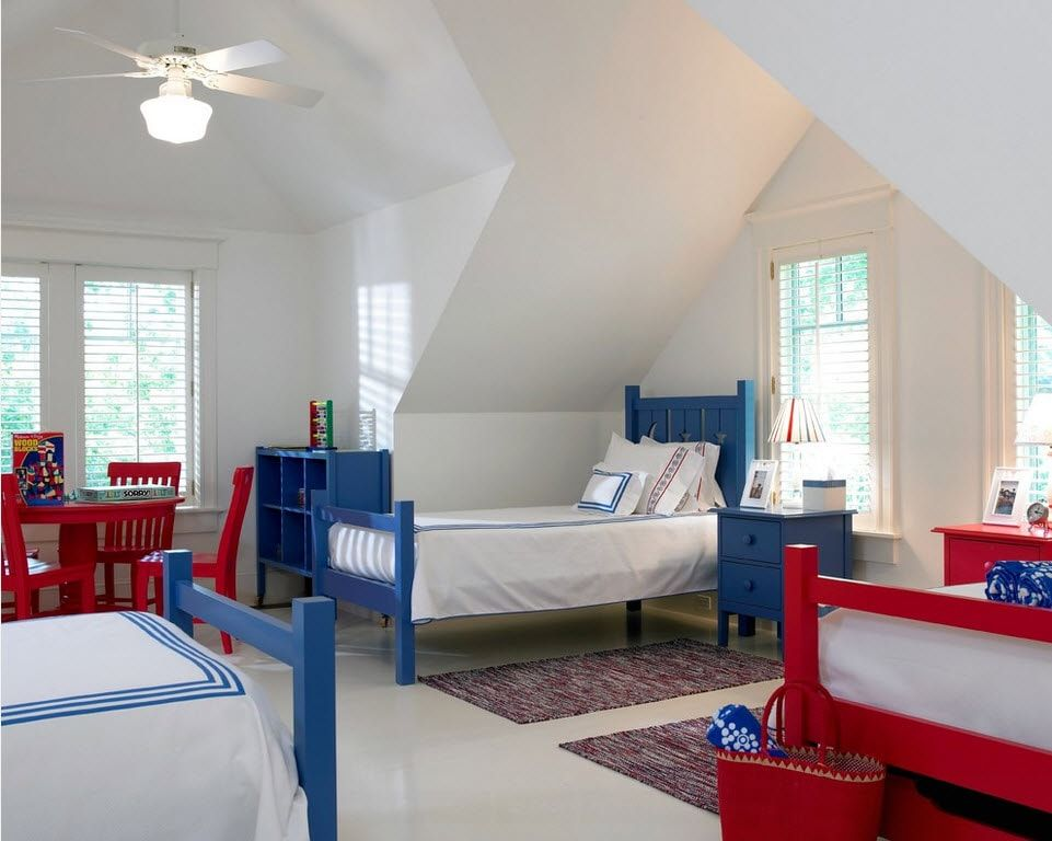 Color Therapy for Children's Room: Why Need Proper Color Combination? Complex architecture of the large loft room for kids with blue beds