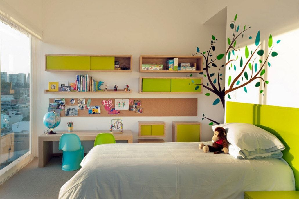 Acid green designed hanged cabinets for large children's room