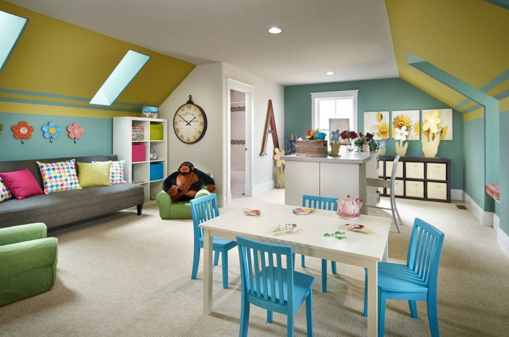 Children's playground and study room with unusual bright blue chairs