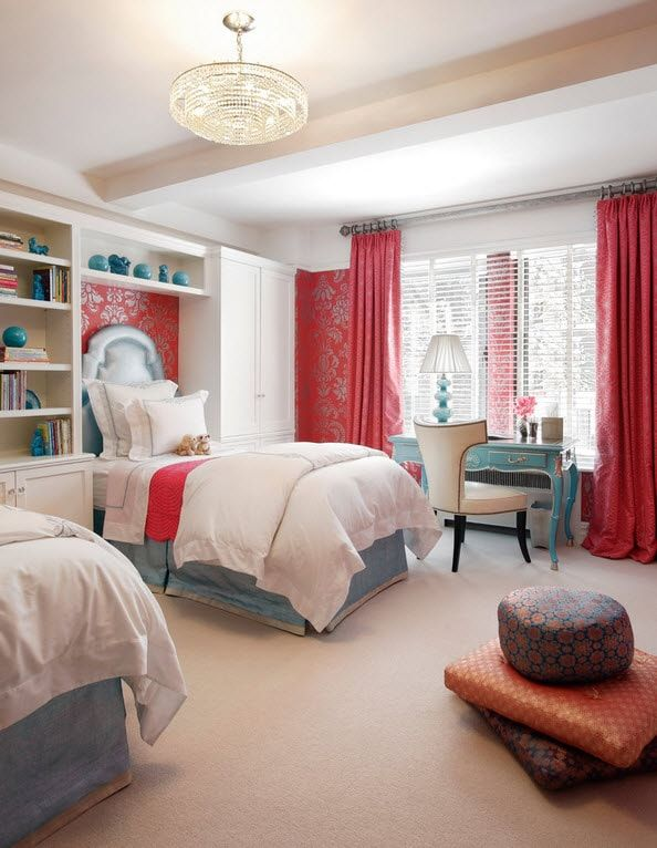 Red curtains and the Classic bed forthe girls' bedroom
