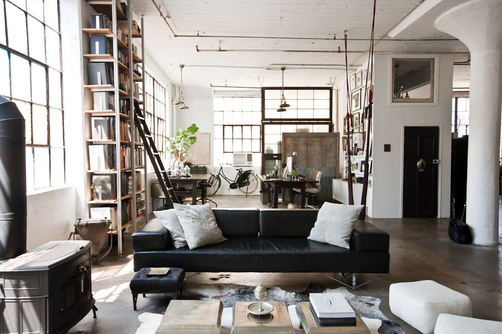 Industrial Interior Design Style: Description and Photos. Typical large working premises turned into cozy living place