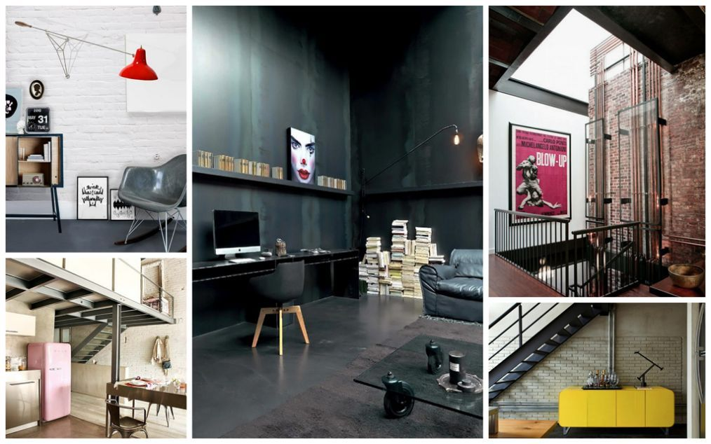 Industrial Interior Design Style: Description and Photos. Collage of successful interiors with different color palette