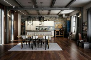 Industrial Interior Design Style: Description and Photos. Nice dark large kitchen with noble wooden laminate