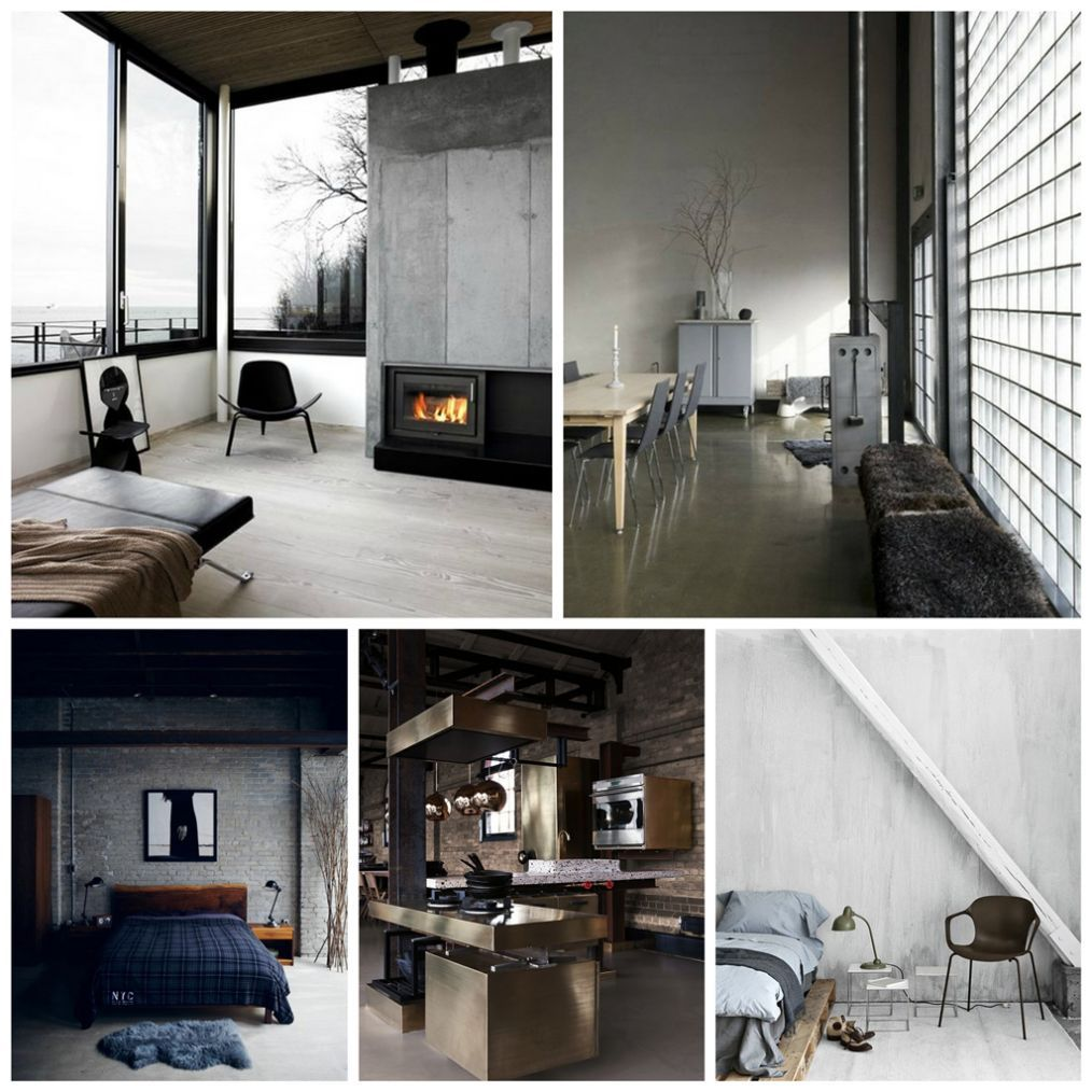 Industrial Interior Design Style: Description and Photos. Different spaces in white