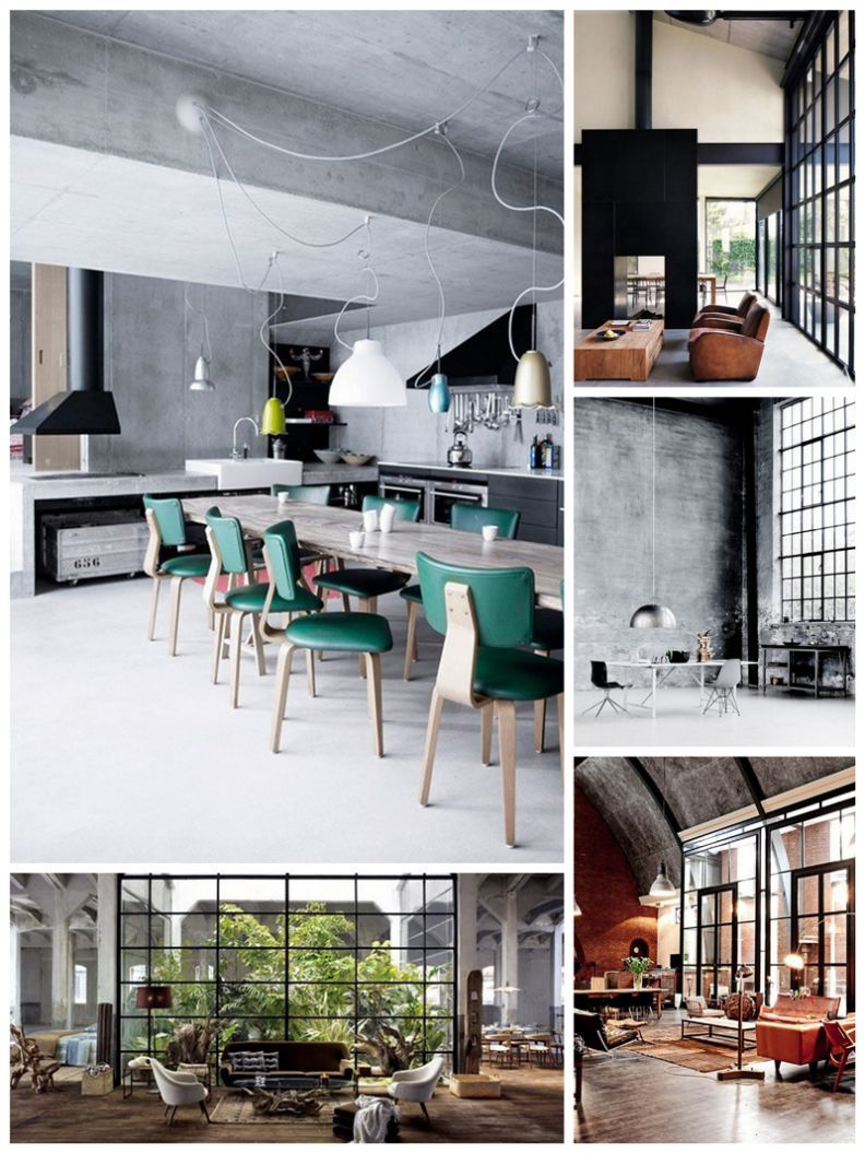 Industrial Interior Design Style: Description and Photos. Large casement windows in and gray color scheme for different kitchens