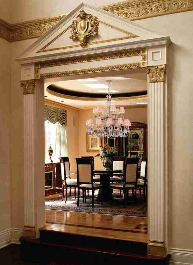 Pilasters in the Interior - Indispensable Element of Luxurious Design. Door arch in the Roman style
