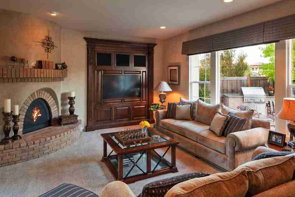 Classic cottage designed in dark gray and beige tones