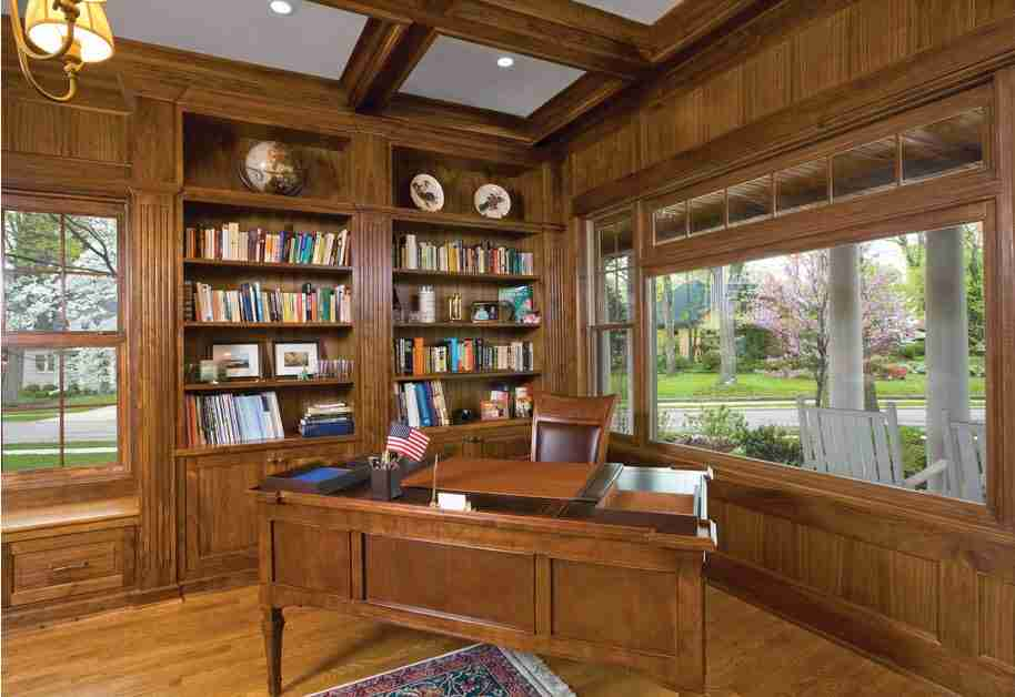 Wooden trimmed hom eoffice with library