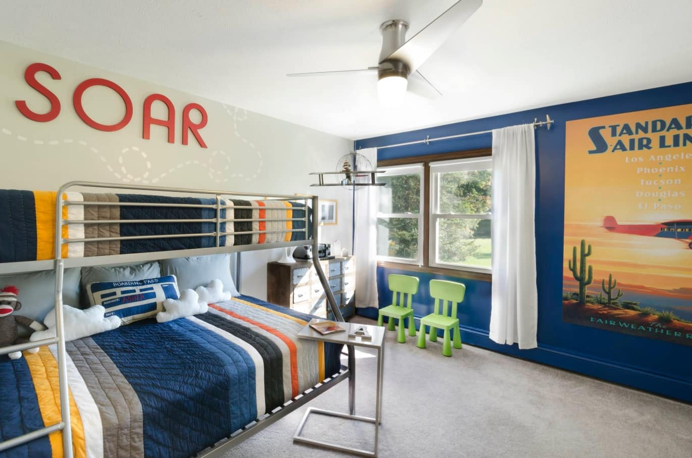 Decorating Ideas for Toddler Boys Bedrooms. Bunk bed in the blue large room for two