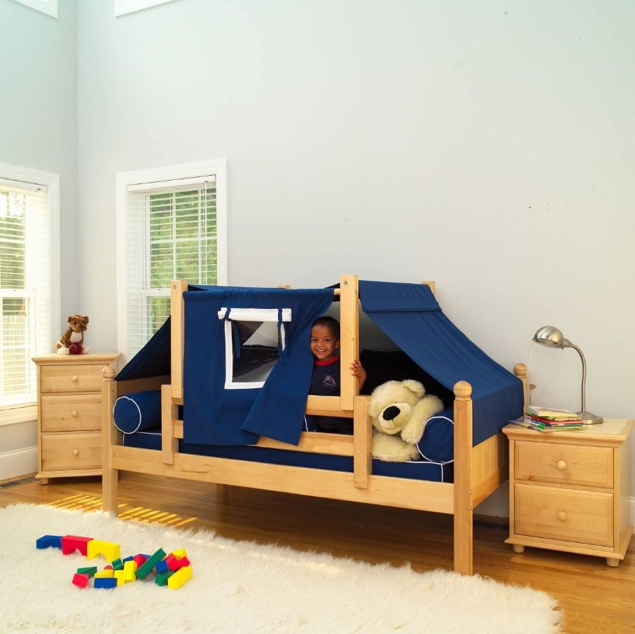 Decorating Ideas for Toddler Boys Bedrooms. Nice convertible wigwam bed in simply decorated room