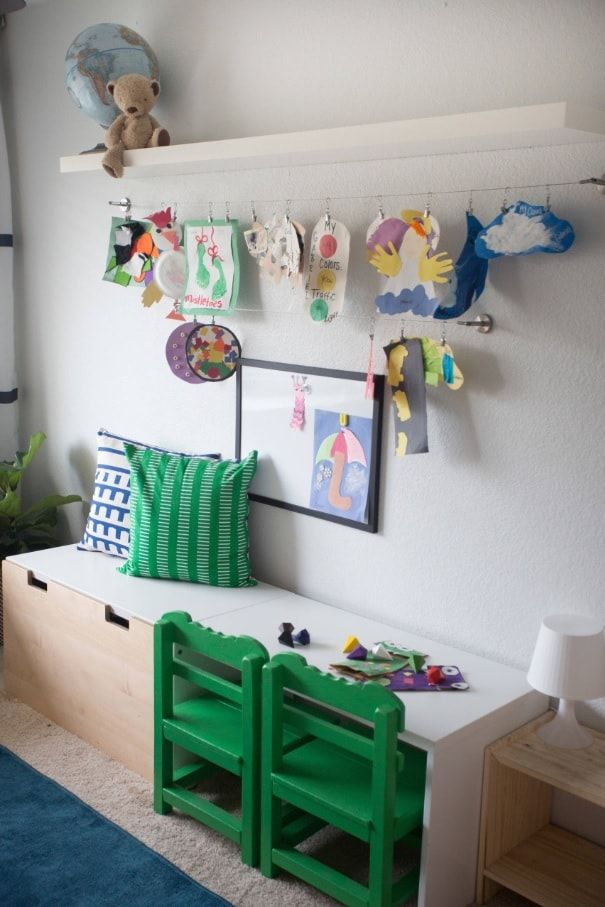 Decorating Ideas for Toddler Boys Bedrooms. Restricted wall decoration and bright elements with drawings to dilute the atmosphere