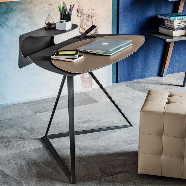 Computer Desk: Large Photo Collection of Organizing the Workspace. Quilted ottoman in the working zone with designer's table on the metal frame
