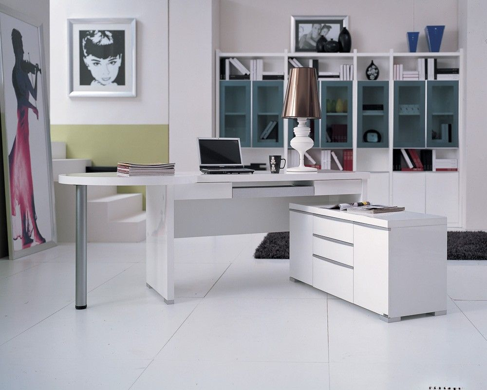 Computer Desk: Large Photo Collection of Organizing the Workspace. Working zone with angular white desk in the large office