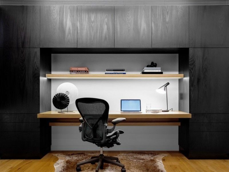 Computer Desk: Large Photo Collection of Organizing the Workspace. Solid black and gray design for comfortable desk with gamer's armchair