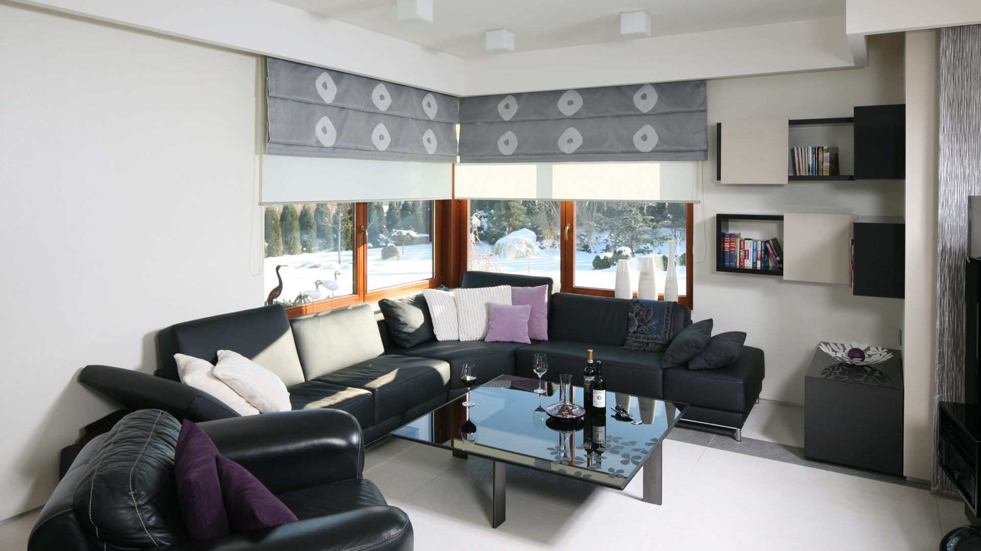 Gray Roman blinds with white pattern