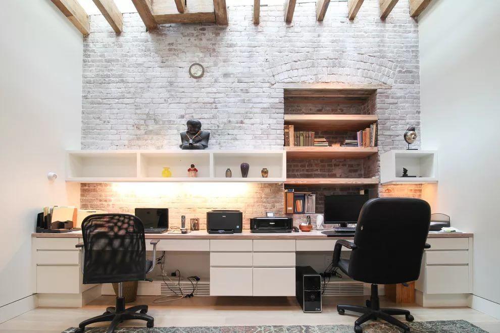 Whitwashed brickwork for grandeur royal home office