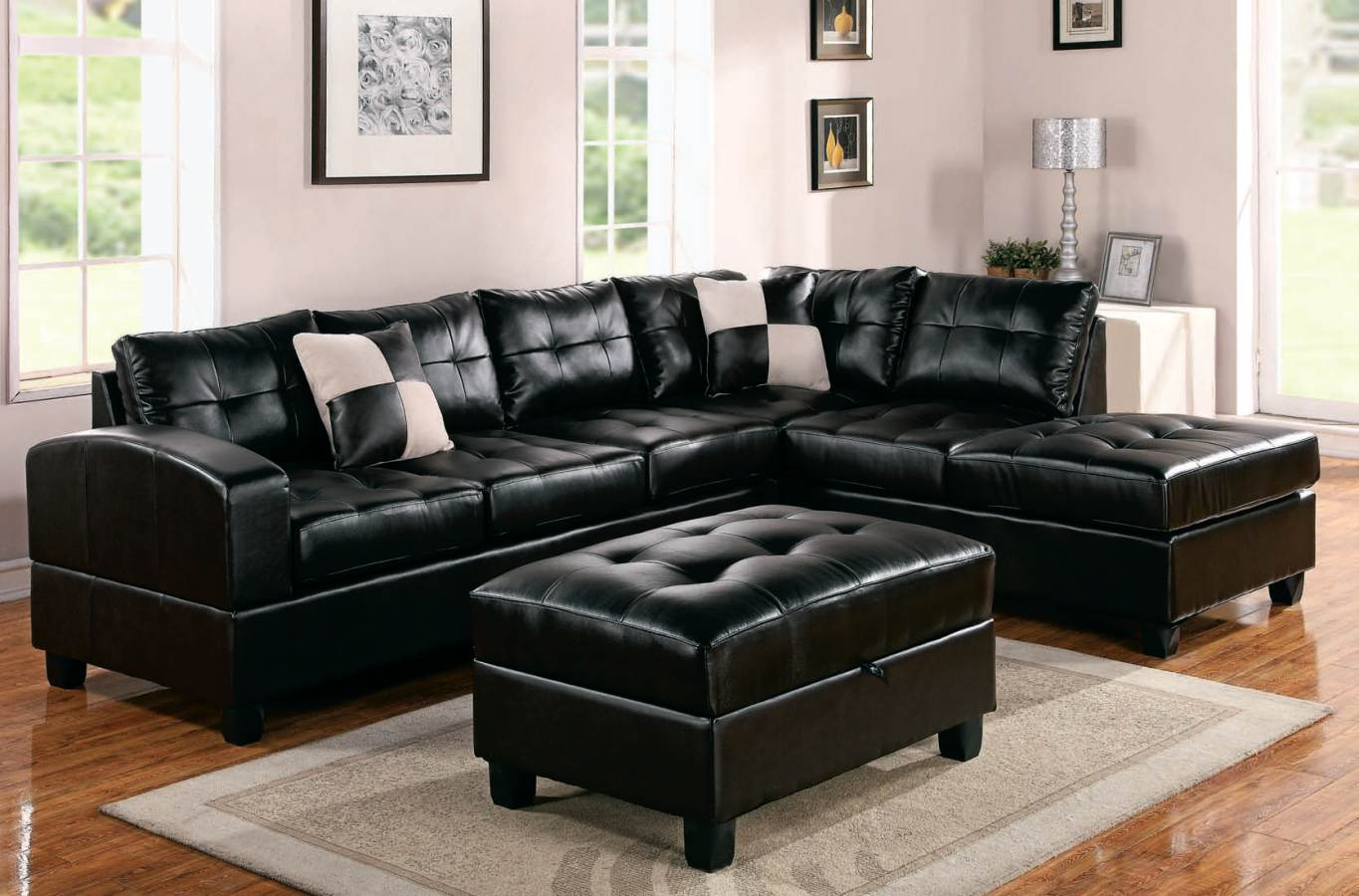Black furniture set in the Classic styled living room