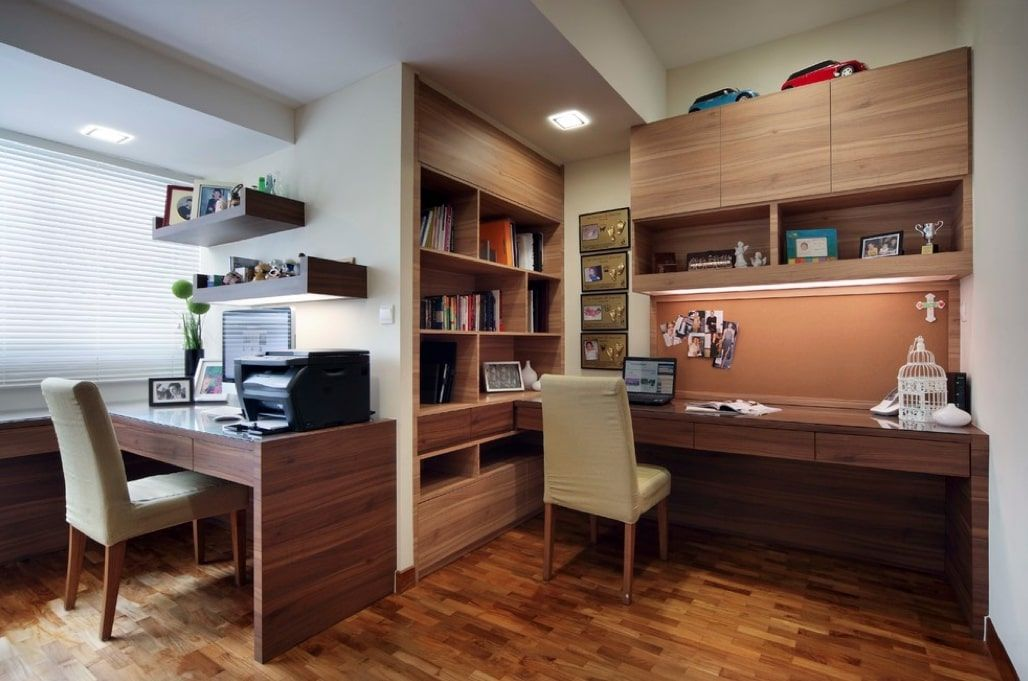 Zoned home office with wooden finishing and two complete working places