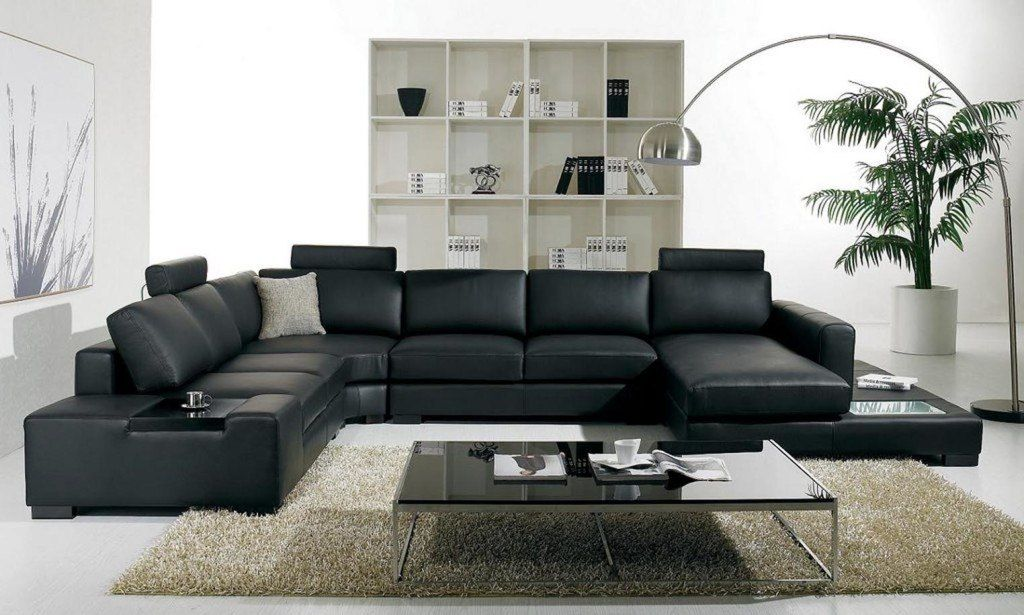 Black Sofa: Elegant and Original Design for Flawless Interior. Modular sofa and the shelving in the room