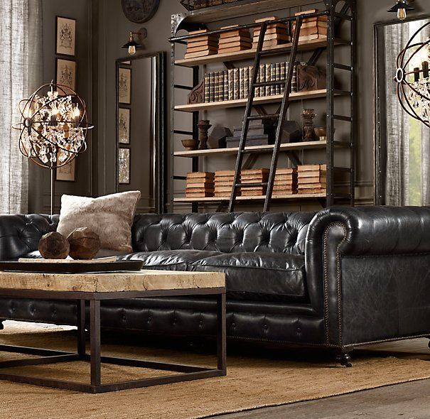 Library at home with moble classic sofa