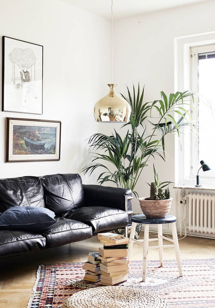 Eco simple style with black sofa at the wall