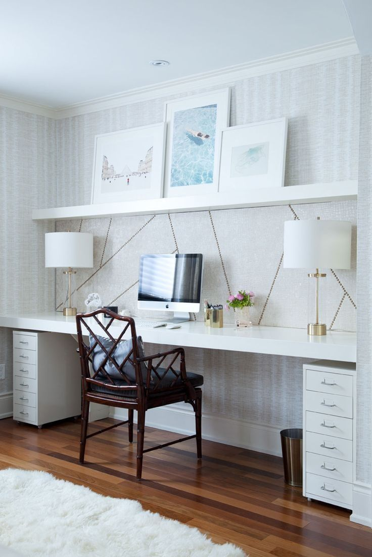 Classic home office in white with black carved chair