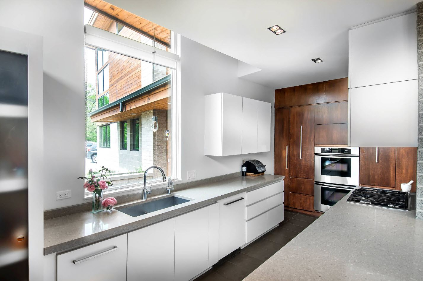 Gorgeous design of the kitchen with two different thematic zones