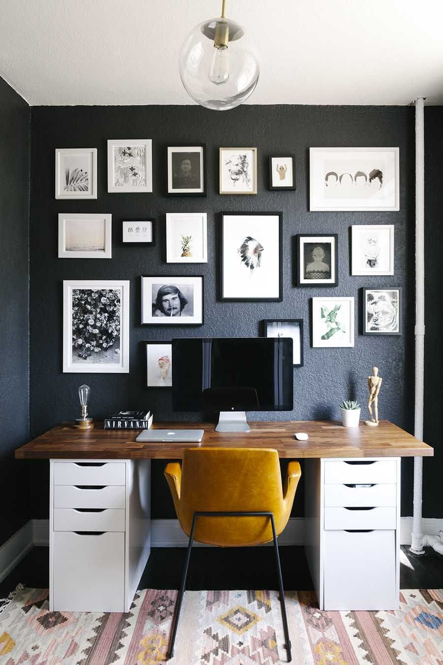 Computer Desk: Large Photo Collection of Organizing the Workspace. Dark accent wall with plenty of photos at the home office