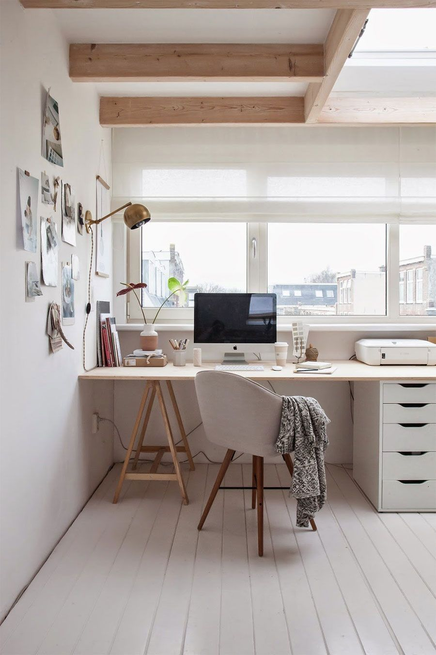 Computer Desk: Large Photo Collection of Organizing the Workspace. Scandi chairs for Contemporary styled home office at the window