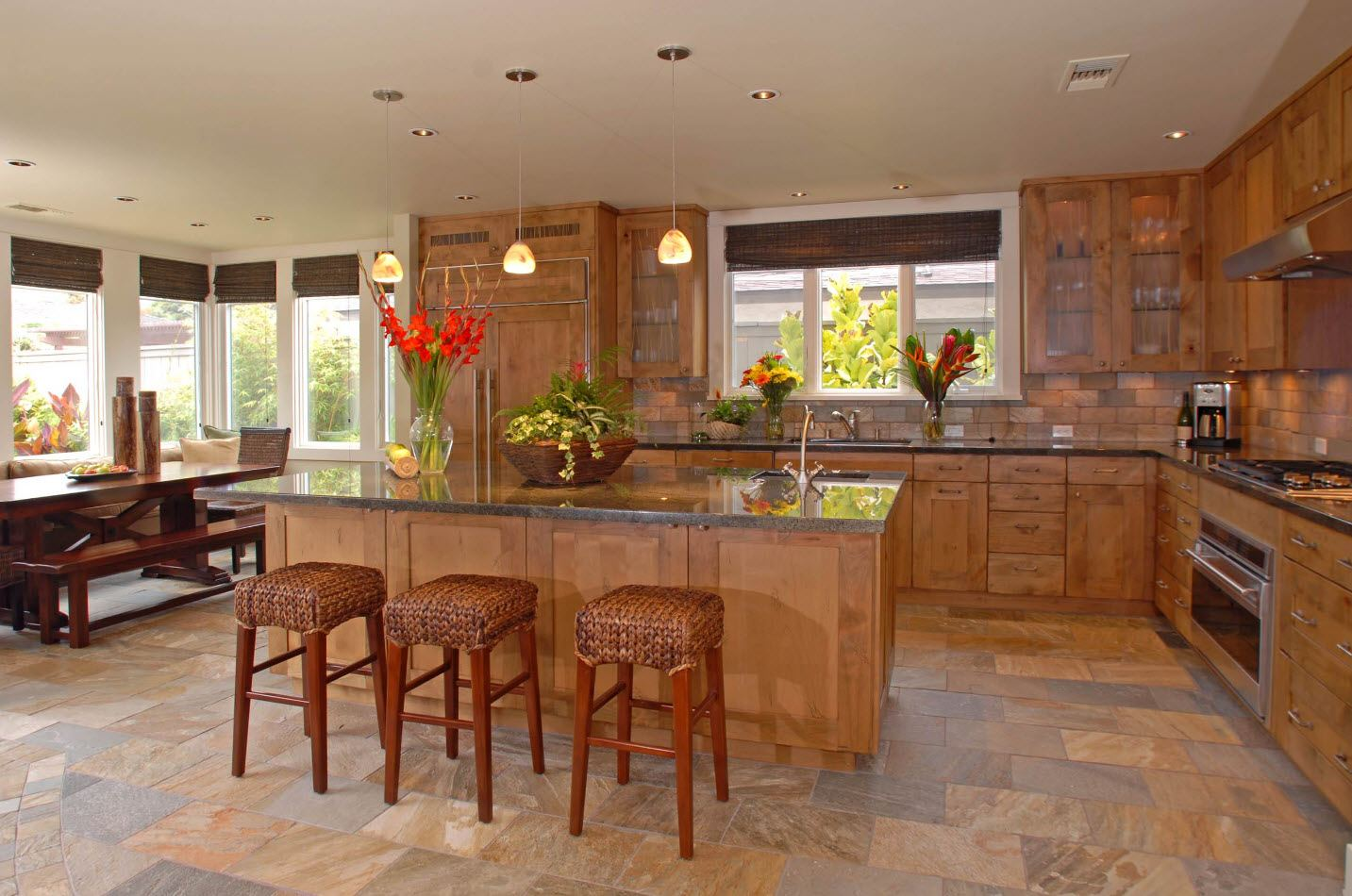 170 Square Feet Kitchen Design Ideas with Photos. Classic furniture set and island with mrable imitating countertop