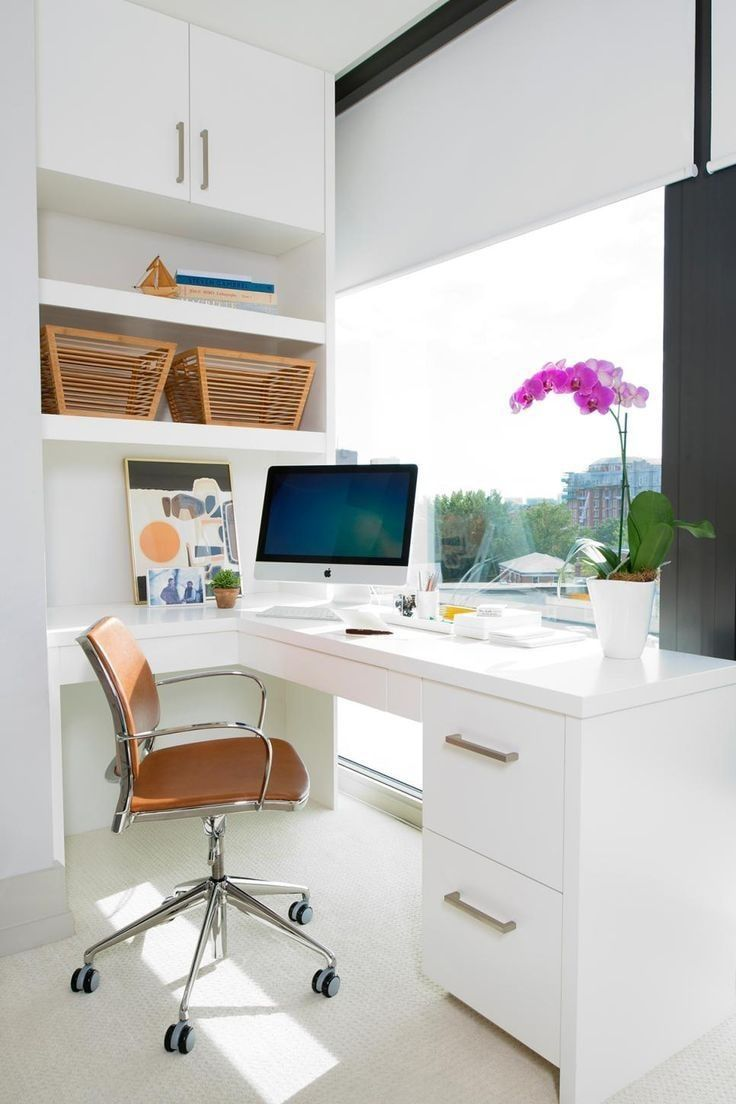 Computer Desk: Large Photo Collection of Organizing the Workspace. Glossy white desk for ultramodern styled room with large window