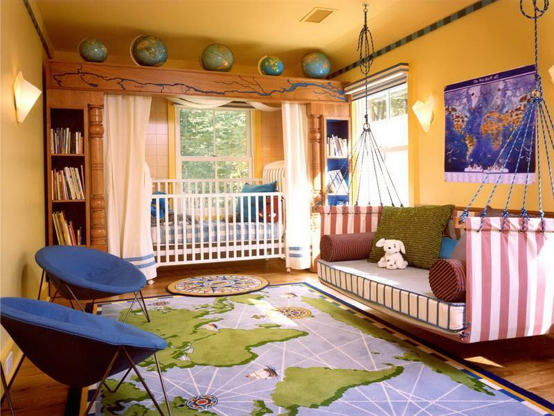 Zoning of the Children's Room Ideas. Yellow designed room with crib and the sofa