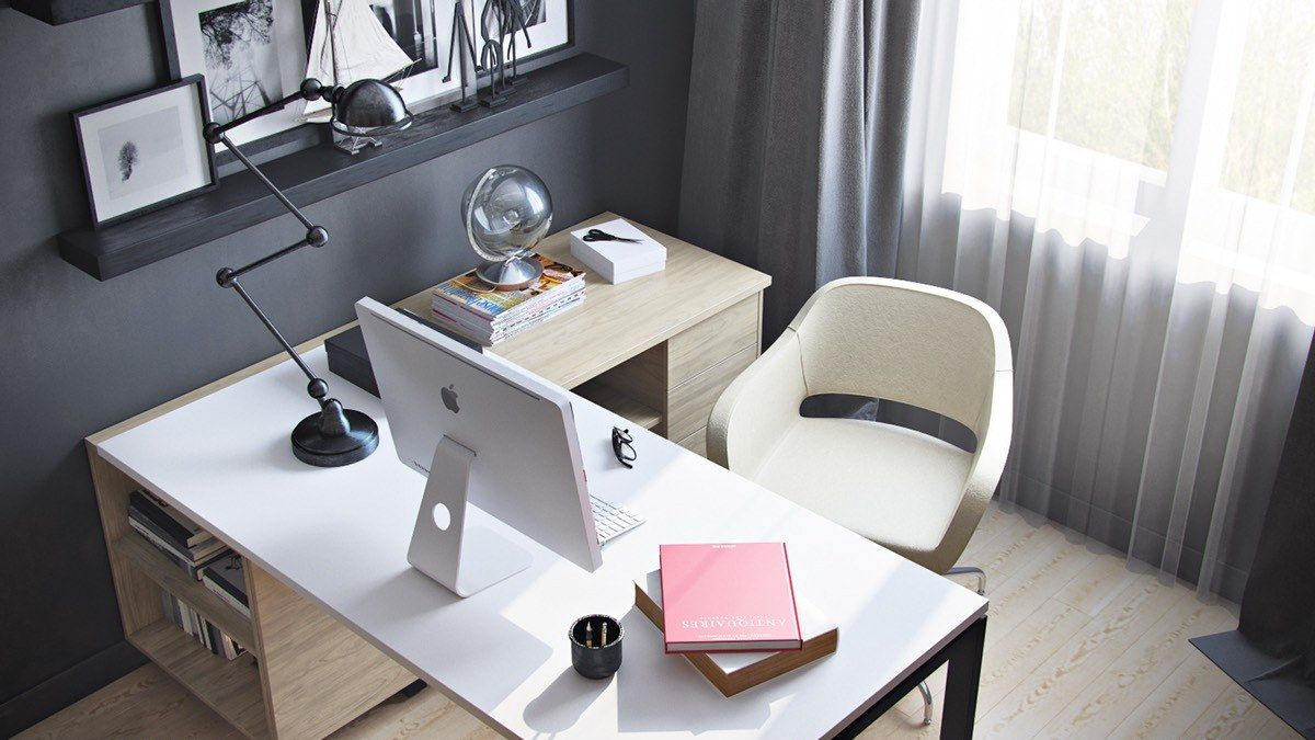 Computer Desk: Large Photo Collection of Organizing the Workspace. Light and coze modern working place with gray wall finish