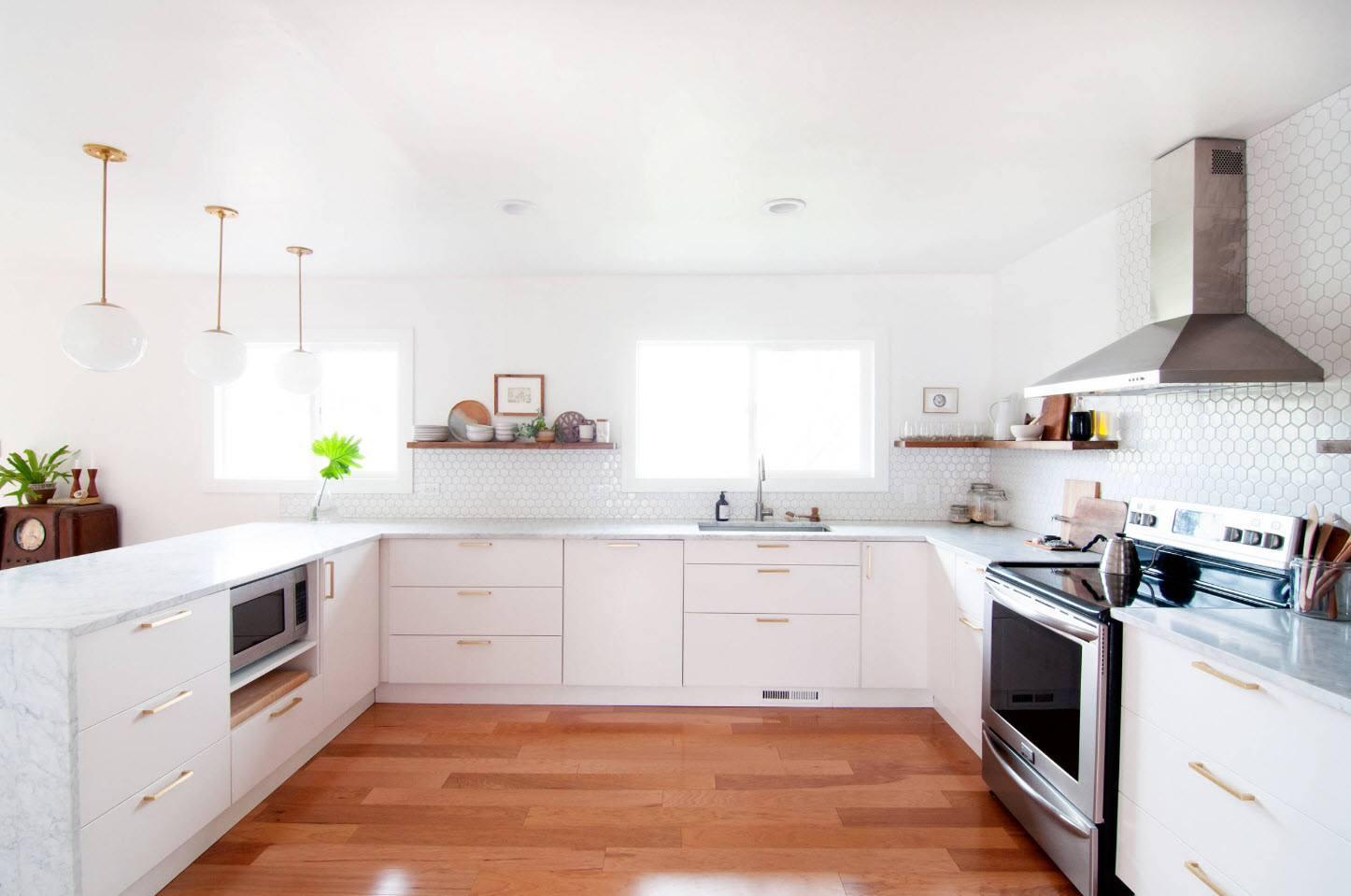 White modern kitchen facades