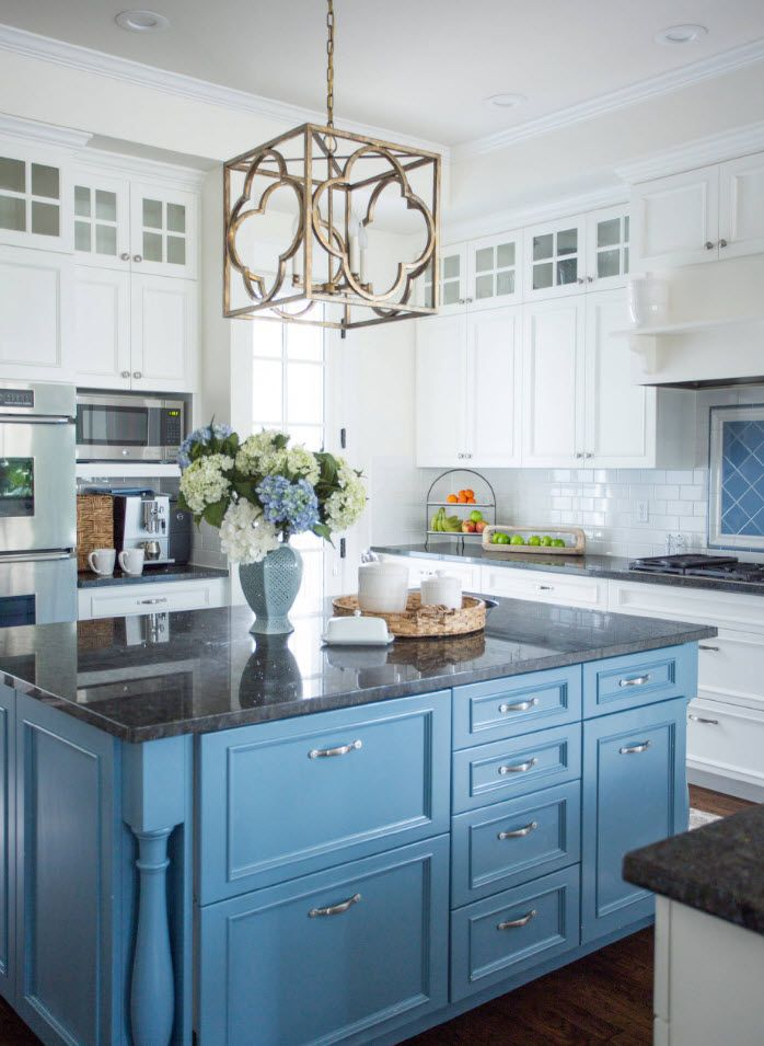 170 Square Feet Kitchen Design Ideas with Photos. Blue kitchen island and white classic furniture set