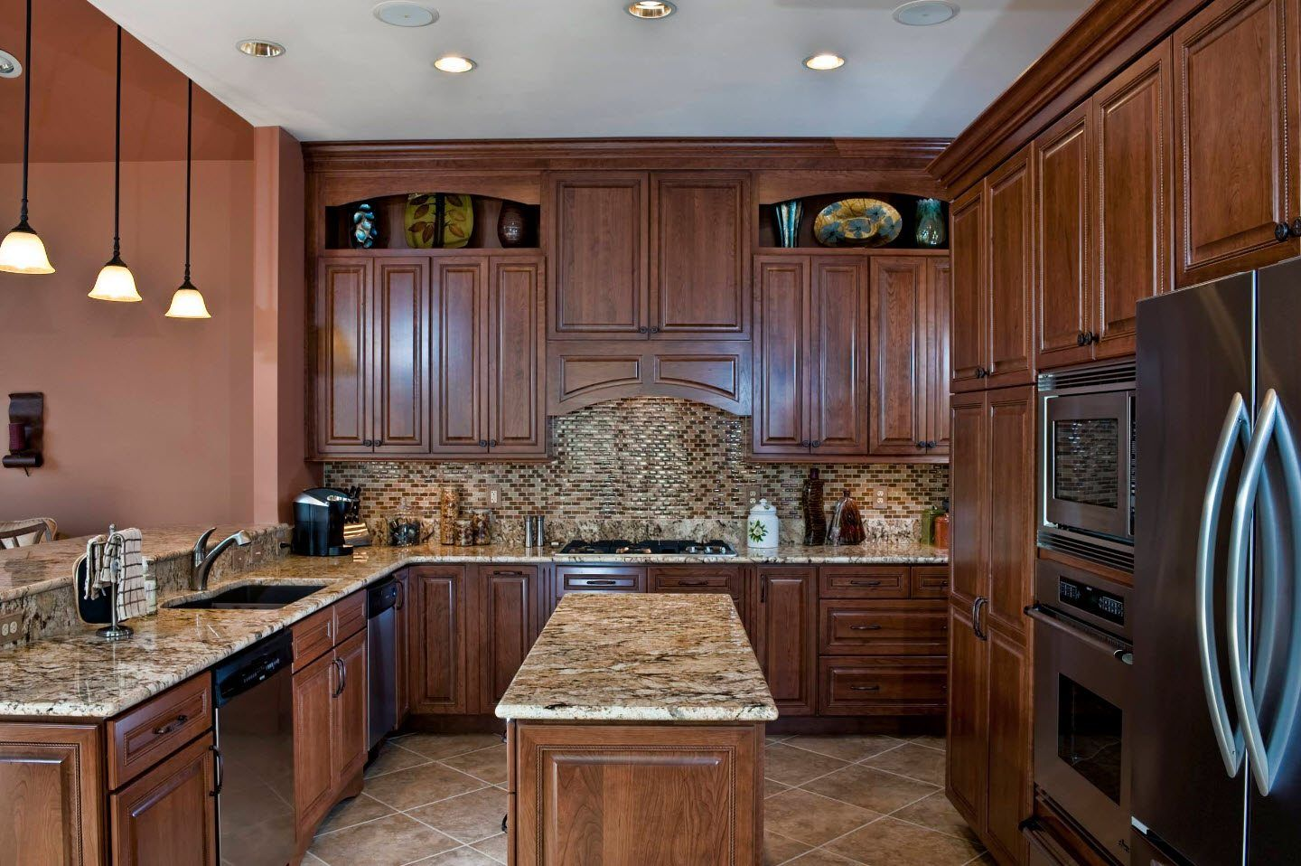 170 Square Feet Kitchen Design Ideas with Photos. Noble carved and embossed oak kitchen fronts and marble topped counters