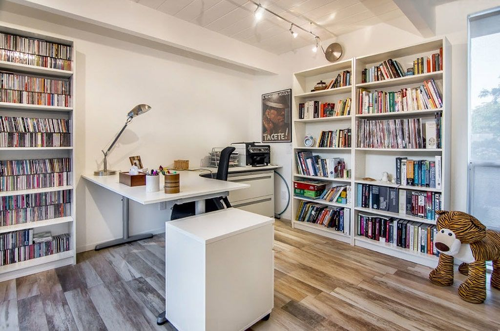 Computer Desk: Large Photo Collection of Organizing the Workspace. Minimalistic Scandinavian style with library shelving and working zone in white