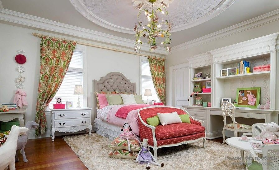 Curtains in the Interior of the Children's Room. Classic designed space for a little girl with royal bed and quilted headboard