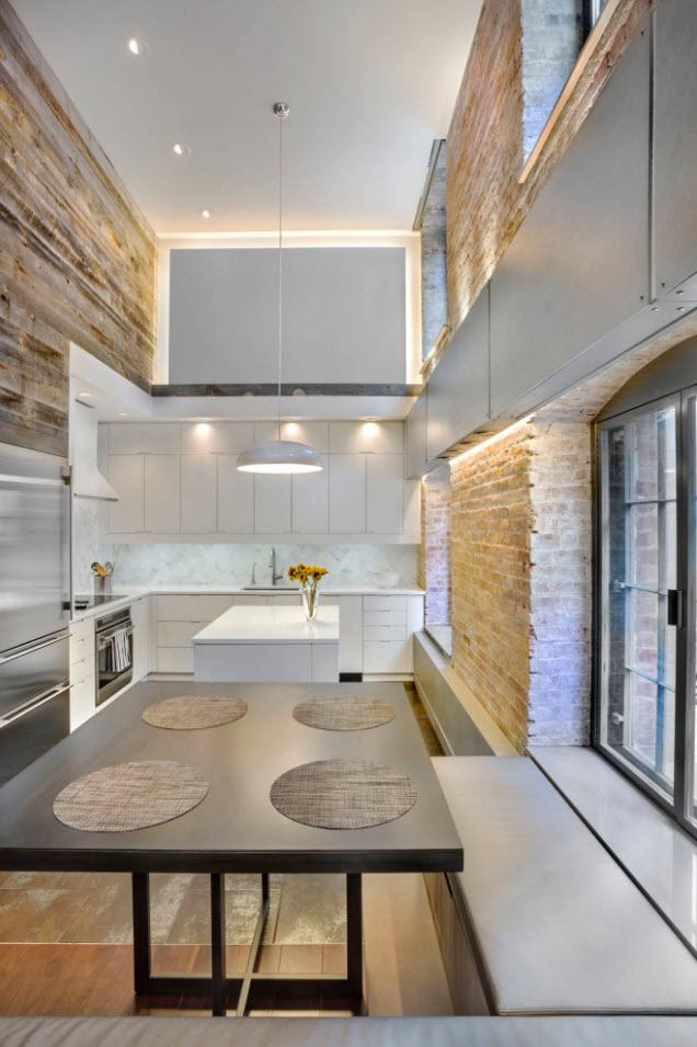 170 Square Feet Kitchen Design Ideas with Photos. Futuristic look of the kitchen with LED backlight and coming in wooden trimming