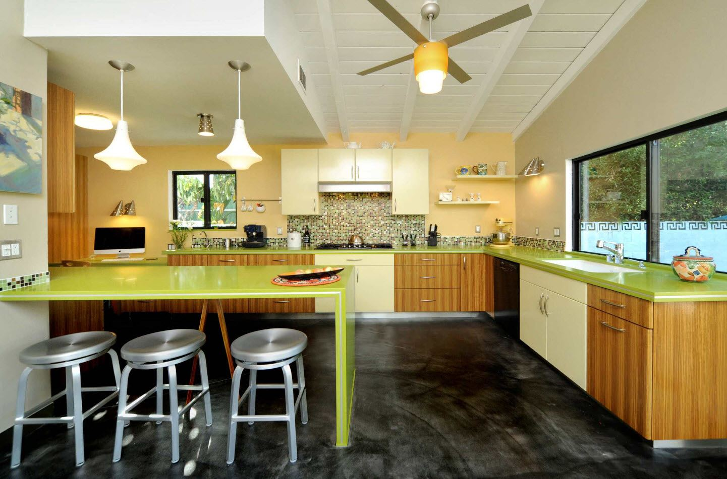 170 Square Feet Kitchen Design Ideas with Photos. Lime glossy bar counter and the dark concrete floor