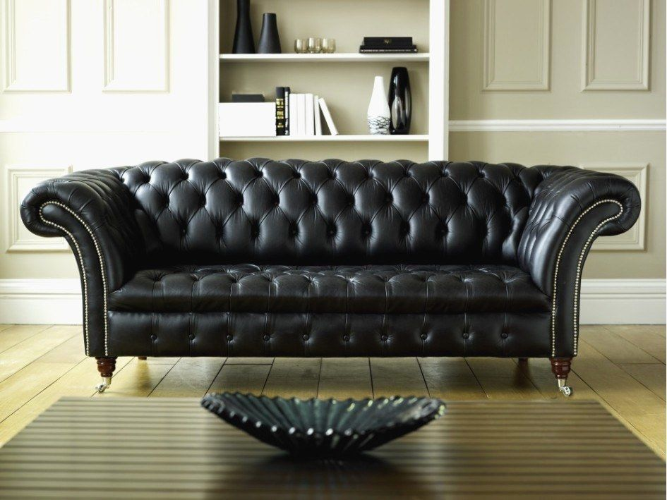 Black Sofa: Elegant and Original Design for Flawless Interior. Luxurious leather quilted sofa